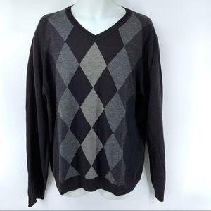 Apt. 9 men's black/gray argyle sweater, XXL